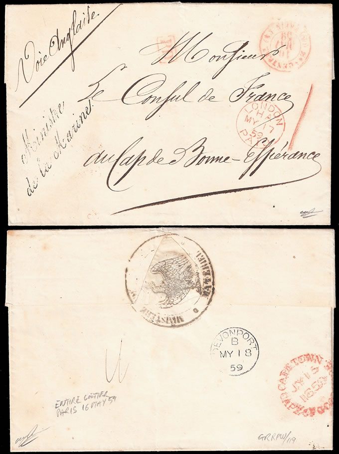 FRANCE 1859 ENTIRE TO CAPE OF GOOD HOPE