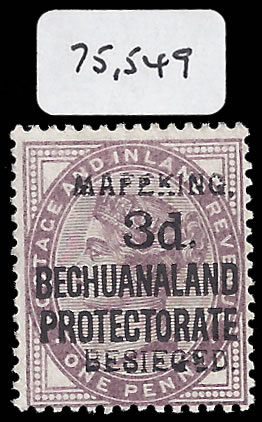 MAFEKING SIEGE 1900 SG 7 OVPT 1, 3D ON 1D LILAC VF/M WITH CERT