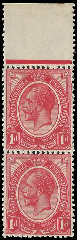 SOUTH AFRICA 1913 KGV 1D MISSING WATERMARK, RARE
