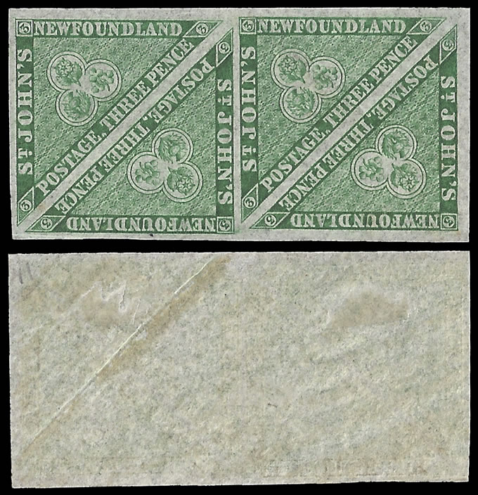 NEWFOUNDLAND 1860 3C TRIANGLE IN VF/M BLOCK OF FOUR