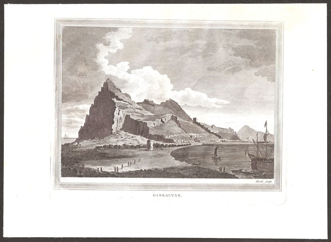 GIBRALTAR 1819 ROCK SCENE COPPER PLATE ENGRAVING