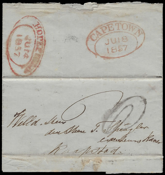 Cape of Good Hope 1857 Early Hopefield Oval on Unpaid Letter