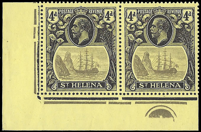 Saint Helena 1922 Badge Issue 4d Cleft Rock Plate No Pair