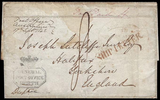 WESTERN AUSTRALIA 1842 LETTER AUSTRALIND & PERTH TO UK