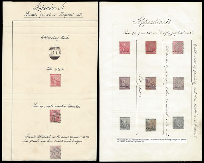 CAPE OF GOOD HOPE 1883 DE LA RUE APPENDIXES FUGITIVE INK TRIALS