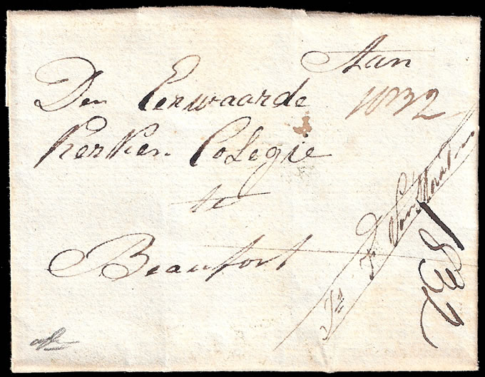 CAPE OF GOOD HOPE 1832 CHARMING SMALL FORMAT LETTER TO BEAUFORT