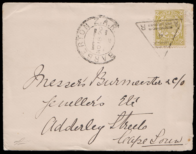 Transvaal 1890 Coded Triangle 4 of Barberton on Letter