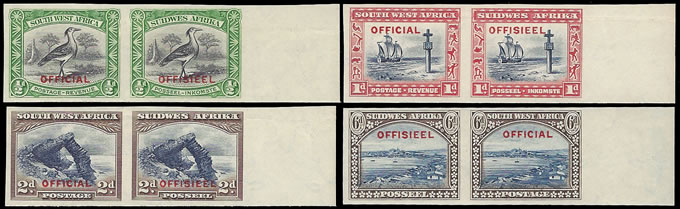 SOUTH WEST AFRICA OFFICIALS 1931 IMPERF PLATE PROOF PAIRS