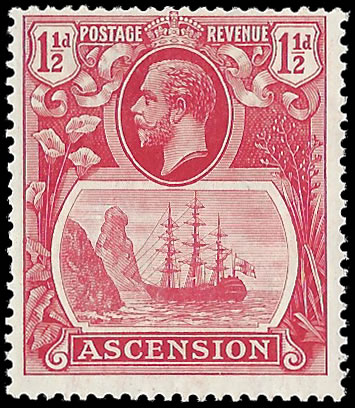 ASCENSION 1924 BADGE ISSUE 1½D BROKEN MAINMAST F/M