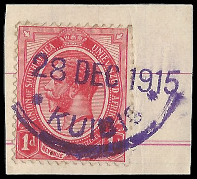 SOUTH WEST AFRICA 1915 KUIBIS RUBBER CANCEL WITH DATE