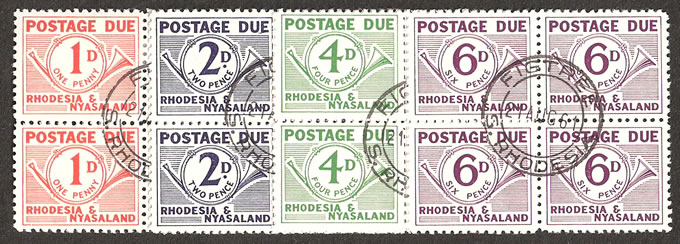Rhodesia & Nyasaland Postage Due 1961 1d - 6d VF/U Blocks