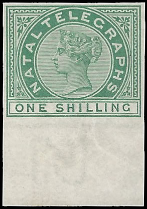 NATAL TELEGRAPH STAMPS 1881 QV 1/- GREEN PLATE PROOF