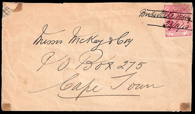 South Africa 1910 Interprovincial KEVII, Manuscript Rail Cancel