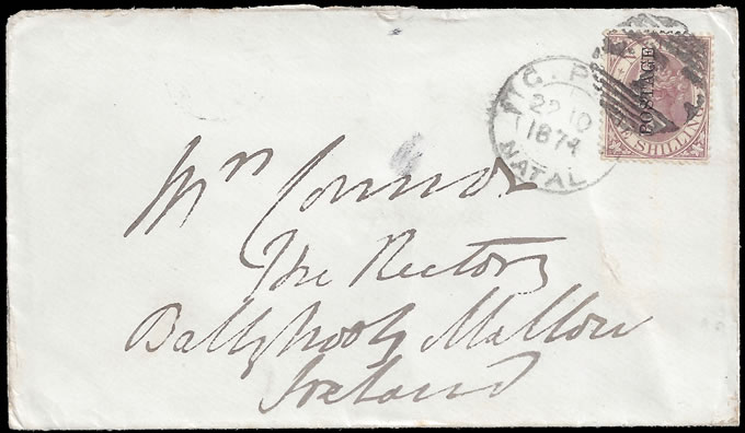 Natal 1874 QV 1/- Revenue Ovptd on Letter to Ireland