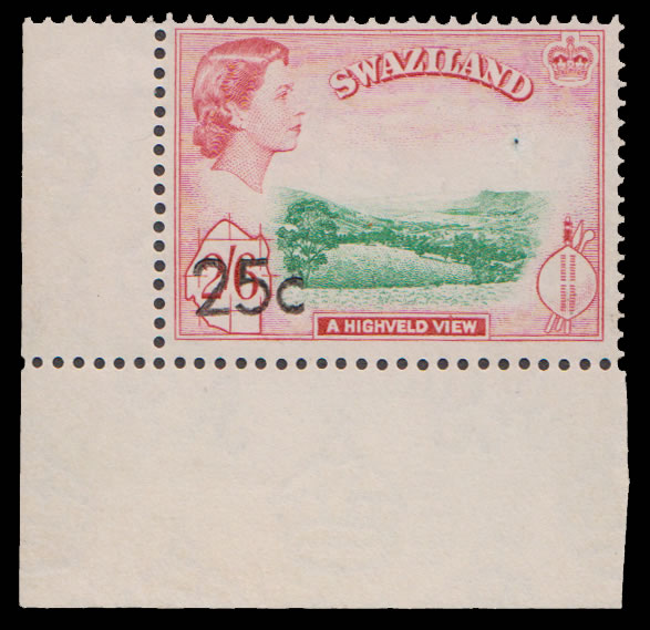 Swaziland 1961 QEII 25c on 2S6d VF/M