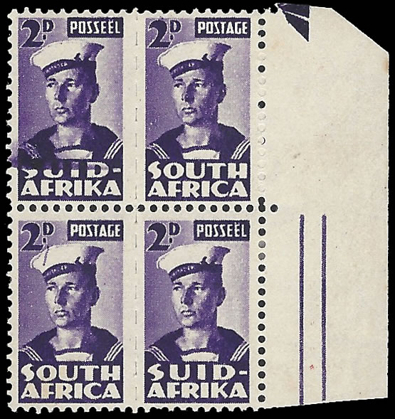 SOUTH AFRICA 1942 2D WAR EFFORT LINE ON CAP VARIETY IN BLOCK
