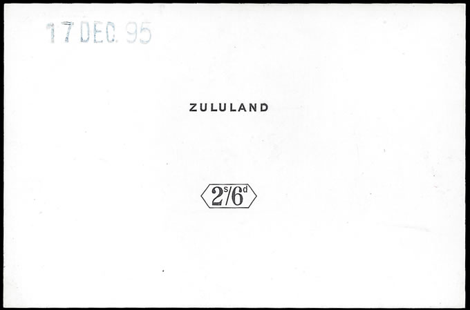 "Zululand 1896 QV 2/6 Keyplate Die Proof, ""Soft"" State, Rare"