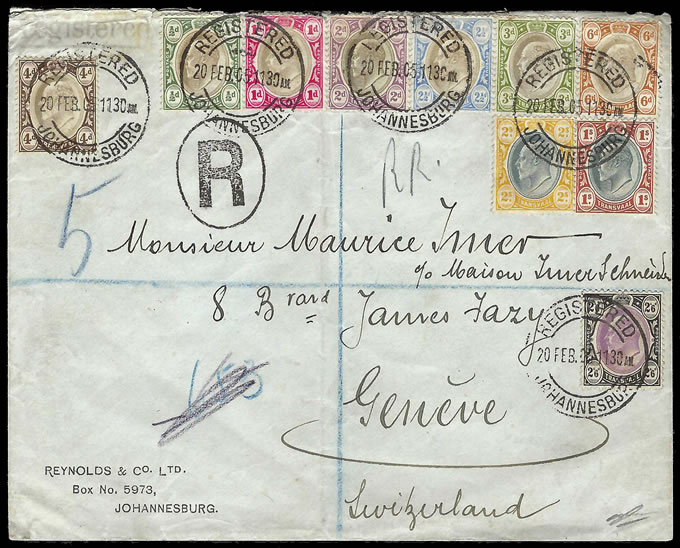 Transvaal 1905 Attractive KEVII Franking, Values to 2/6