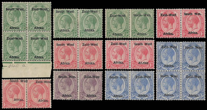 SOUTH WEST AFRICA 1923 KGV SETTING I VARIETIES GROUP