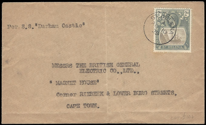 SAINT HELENA 1929 ENVELOPE, 2D BADGE ISSUE FRANKING