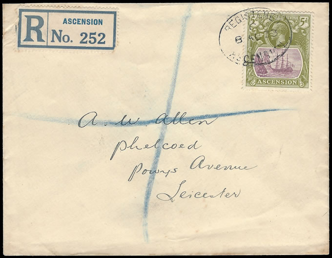ASCENSION 1933 KGV 5D BADGE ISSUE FRANKING TO UK