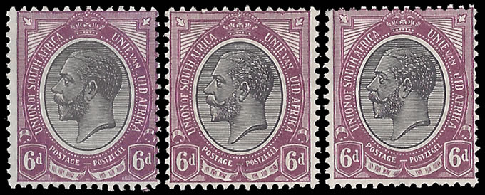 "SOUTH AFRICA 1913 KGV 6D MISSING ""Z"" TRIO"