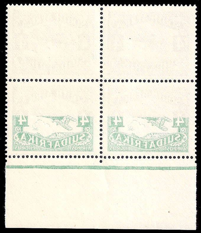 SOUTH AFRICA 1929 4D AIRMAIL STAMP, SPECTACULAR OFFSET