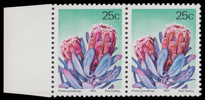 "SOUTH AFRICA 1977 25C PROTEA GREEN (""RSA"" ETC) OMITTED UM"
