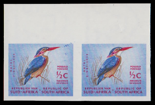 South Africa 1964 ½c Pygmy Kingfisher Imperf Pair
