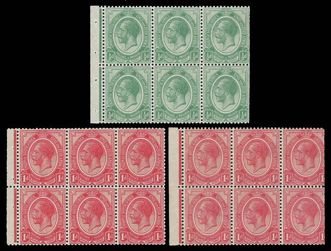 SOUTH AFRICA 1913 KGV ½D & 1D BOOKLET PANES UPRIGHT WMK