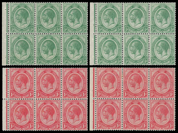 SOUTH AFRICA 1913 KGV ½D & 1D BOOKLET PANES INVERTED WMK