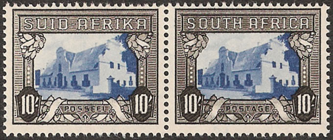 South Africa 1944 10/- Blue & Charcoal VF/M