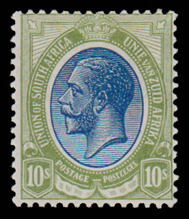 SOUTH AFRICA 1913 KGV 10/- WITH MISPLACED WATERMARK