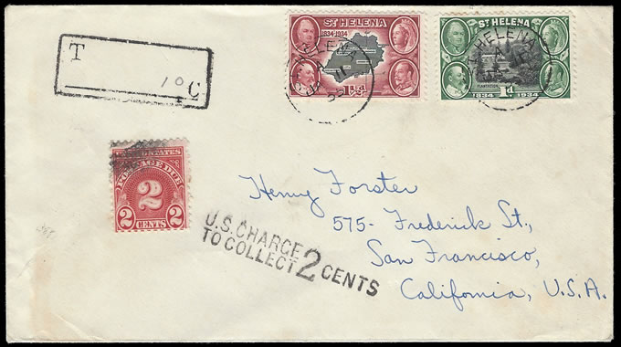 SAINT HELENA 1935 TAXED ENVELOPE TO USA, POSTAGE DUE
