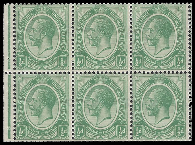 SOUTH AFRICA 1913 KGV ½D BOOKLET PANE UPRIGHT WMK