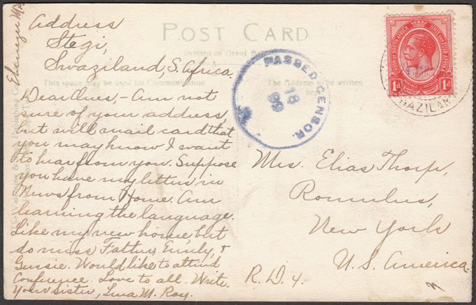 SWAZILAND 1917 SCARCE USE SA 1D ON POSTCARD FROM STEGI