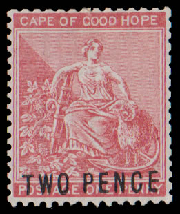 CAPE OF GOOD HOPE 1882 DE LA RUE ESSAY PROVISIONAL 2D