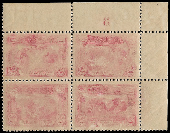 AUSTRALIA 1931 KINGSFORD SMITH 2D OFFSET BLOCK