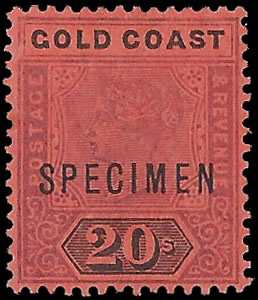 GOLD COAST 1894 QV 20/- SPECIMEN VF/M
