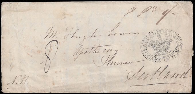 CAPE OF GOOD HOPE 1848 GPO CAPE TOWN OVAL HANDSTAMP