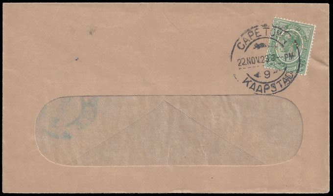 South Africa 1923 Perfin on Cover, KGV ½d Franking