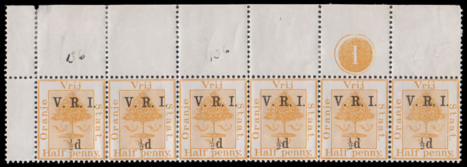 "ORANGE FREE STATE 1900 VRI SG101 SMALL ""½""D TWICE STRIP"