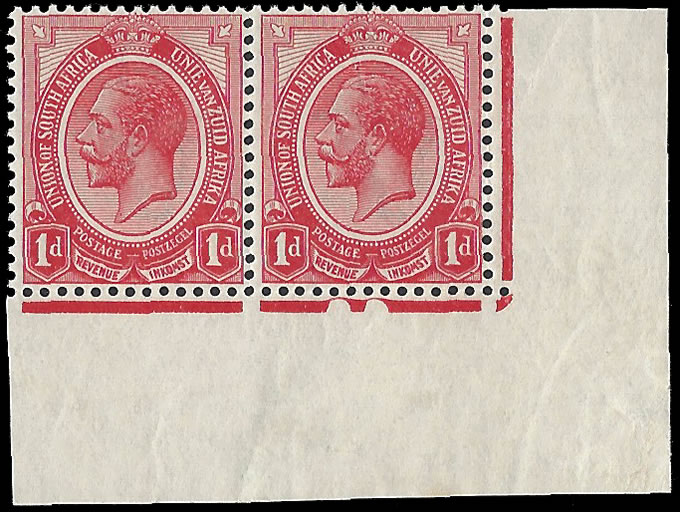 SOUTH AFRICA 1913 KGV 1D NO NUMBER, TWO NOTCHES, PLATE 2A, RARE