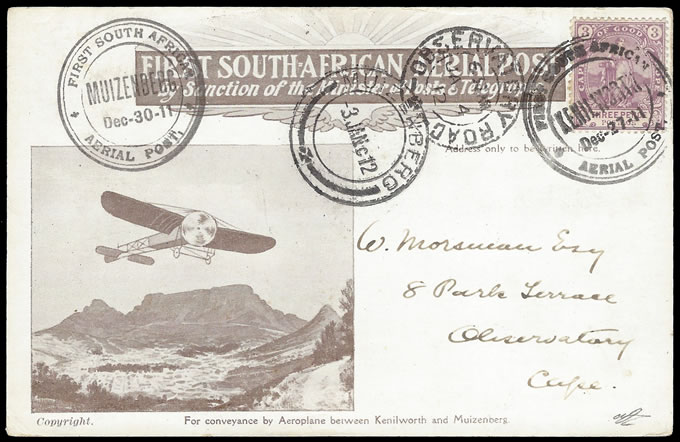 SOUTH AFRICA 1911 SECOND FLIGHT CARD, KENILWORTH DATE ERROR