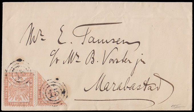 Transvaal 1883 Envelope with Bisected Celliers 3d, Rare