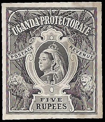 UGANDA 1898 QV LARGE FORMAT 5R DAY BOOK DIE PROOF, RARE