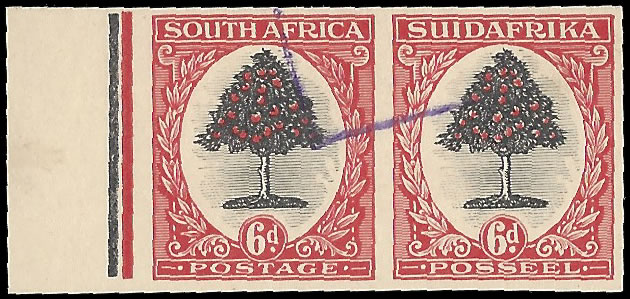 SOUTH AFRICA 1926 6D COLOUR TRIAL PLATE PROOF PAIR, IMPERF