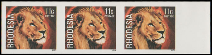 RHODESIA 1978 11C LION IMPERFORATE STRIP OF THREE