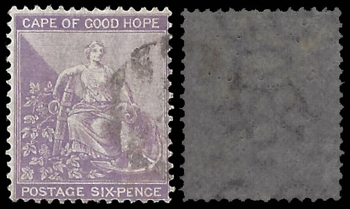 CAPE OF GOOD HOPE 1864 6D LILAC INVERTED WATERMARK VF/U