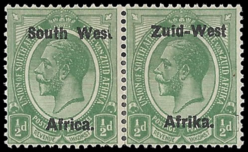 "South West Africa 1923 KGV ½d ""Wes."" For ""West"" F/M"